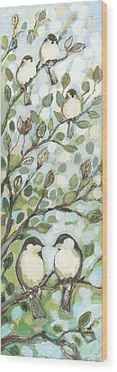 Mo's Chickadees Wood Print by Jennifer Lommers