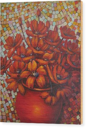 Mosaic Flowers Wood Print