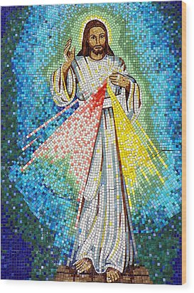 Wood Print featuring the photograph Mosaic Of Christ Rising by Joseph Frank Baraba