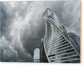 Moscow City And Storm Wood Print
