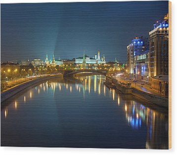 Wood Print featuring the photograph Moscow Kremlin At Night by Alexey Kljatov