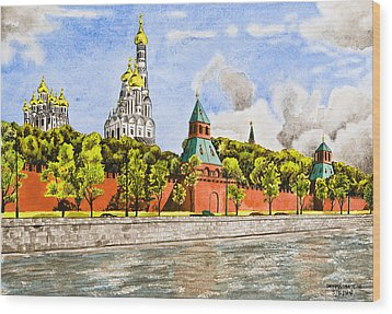 Moscow River Wood Print by Svetlana Sewell