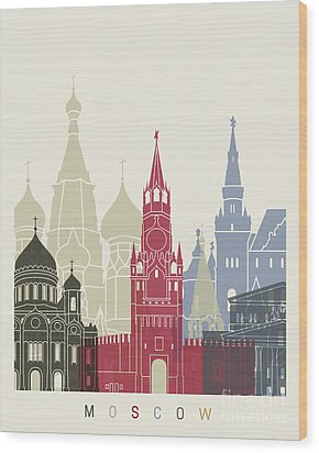 Moscow Skyline Poster Wood Print by Pablo Romero