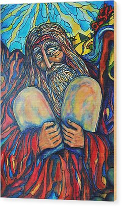 Wood Print featuring the painting Moses by Rae Chichilnitsky