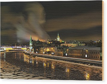 Wood Print featuring the photograph Moskva River by Gouzel -