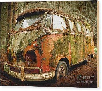 Moss Covered 23 Window Bus Wood Print by Michael David Sorensen