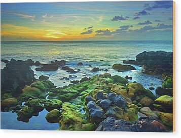 Wood Print featuring the photograph Moss Covered Rocks At Sunset In Molokai by Tara Turner