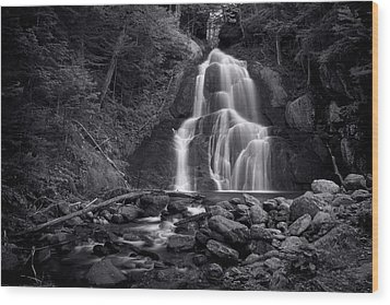 Wood Print featuring the photograph Moss Glen Falls - Monochrome by Stephen Stookey