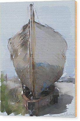 Moss Landing Boat Wood Print by Sarah Madsen