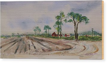 Wood Print featuring the painting Moss Landing Pine Trees Farm California Landscape 1 by Xueling Zou