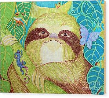 Mossy Sloth Wood Print by Nick Gustafson