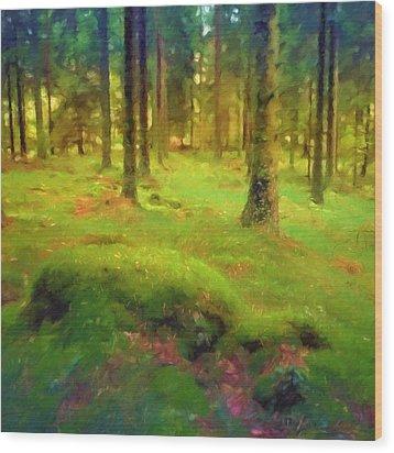 Mossy Woods Wood Print by Lutz Baar