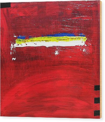 Wood Print featuring the painting Mostly Red by Carolyn Repka