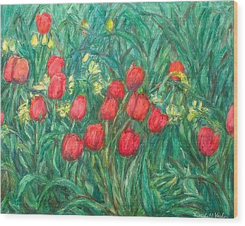 Wood Print featuring the painting Mostly Tulips by Kendall Kessler