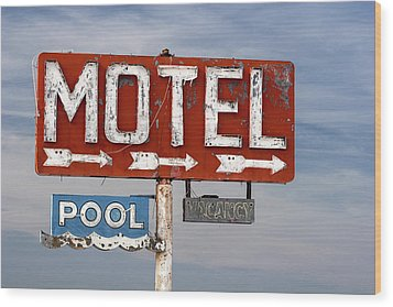 Wood Print featuring the photograph Motel And Pool Sign Route 66 by Carol Leigh
