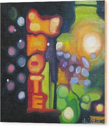 Motel Lights Wood Print by Patricia Arroyo