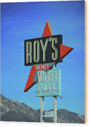 Motel Sign Wood Print by Rheann Earnest