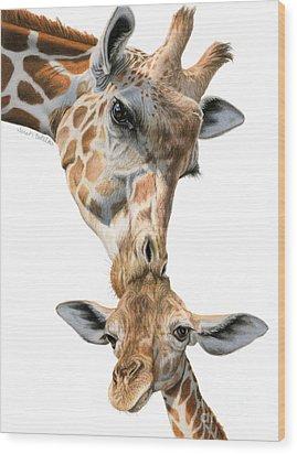 Mother And Baby Giraffe Wood Print by Sarah Batalka