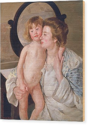 Mother And Boy Wood Print by Mary Stevenson Cassatt