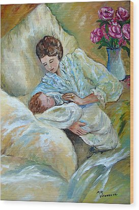 Mother And Child By May Villeneuve Wood Print