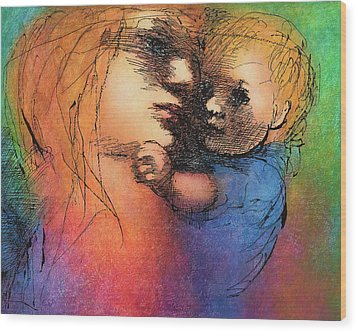 Mother And Child Wood Print by Claire  Szalay Phipps