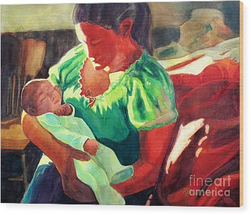 Wood Print featuring the painting Mother And Child In Red2 by Kathy Braud