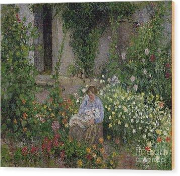 Mother And Child In The Flowers Wood Print by Camille Pissarro