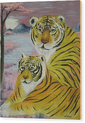 Mother And Child  Wood Print by Lian Zhen