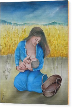 Mother And Child Wood Print by Miriam Besa