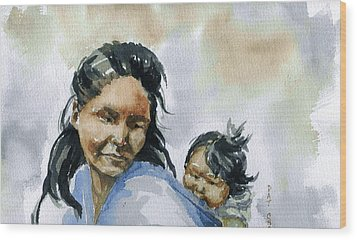 Mother And Child Wood Print by Pat Crowther