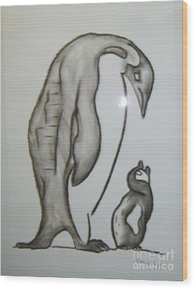 Mother And Child Penguins Wood Print