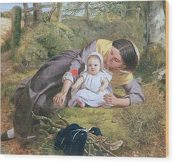 Mother And Child With A Poppy Wood Print by Frederick Richard Pickersgil