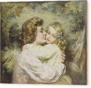 Mother And Daughter  Wood Print by Thomas Benjamin Kennington