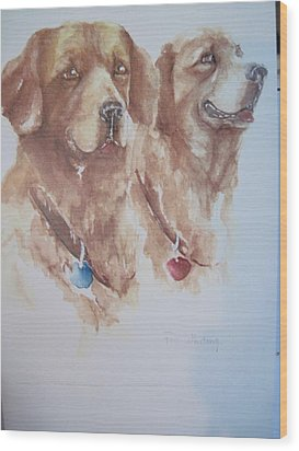 Mother And Son Golden Retrievers Wood Print by Peg Whiting