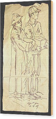 Mother And Son Wood Print by Radical Reconstruction Fine Art Featuring Nancy Wood
