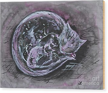 Wood Print featuring the painting Mother Cat With Kittens by Zaira Dzhaubaeva