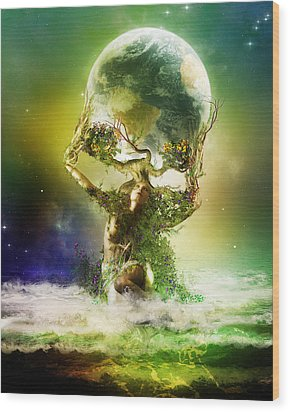 Mother Earth Wood Print by Mary Hood