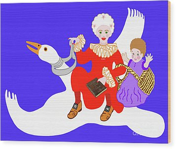 Mother Goose On Her Flying Goose Wood Print by Marian Cates