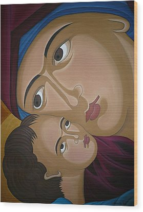 Mother-love Wood Print by Marinella Owens