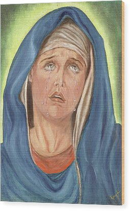 Mother Of Sorrow - Mater Dolorosa Wood Print by Remy Francis