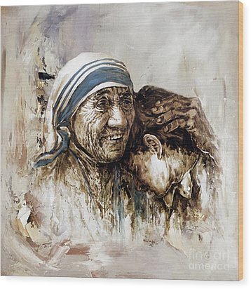 Wood Print featuring the painting Mother Teresa  by Gull G