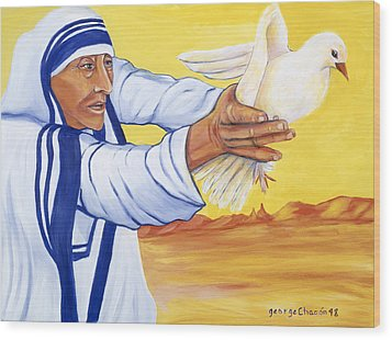 Mother Teresa In New Mexico Wood Print by George Chacon