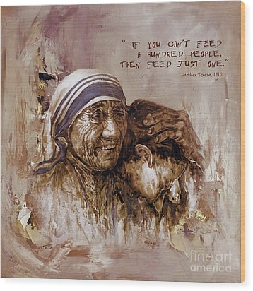 Wood Print featuring the painting Mother Teresa Of Calcutta  by Gull G