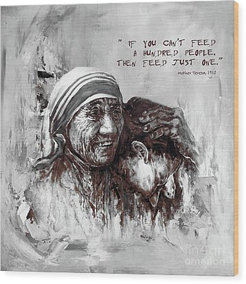 Wood Print featuring the painting Mother Teresa Of Calcutta Portrait  by Gull G