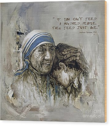 Wood Print featuring the painting Mother Teresa Portrait  by Gull G