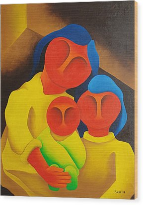 Mother With Her Children  1987 Wood Print by S A C H A -  Circulism Technique