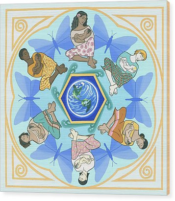 'mothering' Mandala Wood Print by Karen MacKenzie