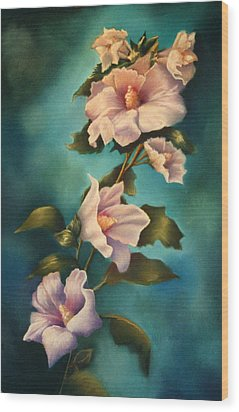 Mothers Rose Of Sharon Wood Print by Marti Bailey