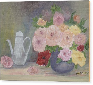 Mother's Roses Wood Print by Shirley Lawing