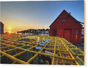 Motif 1 Lobster Trap Sunrise Wood Print